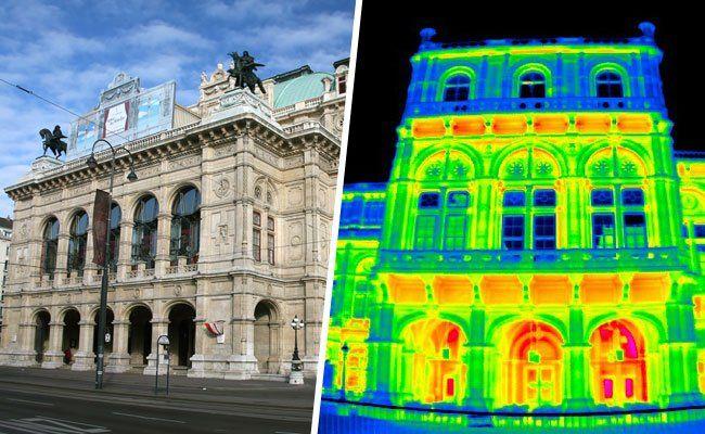 Das Wärmebild zeigt: Die Opern-Fenster wirken thermografisch wie Spiegel.