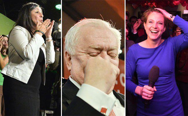 Am Wahlabend zeigten die Spitzenkandidaten ohne Hemmungen ihre Freude über das Ergebnis - die meisten zumindest.