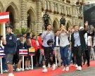 Beach Volleyball-Stars bei offizieller Begrüßung am Rathausplatz in Wien