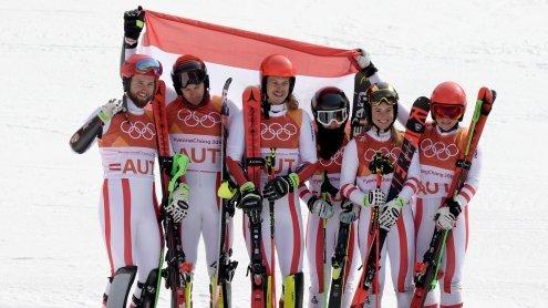 Österreich holt bei alpinem Ski-Mixed-Teambewerb Silber