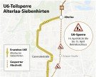Gleisarbeiten: Sperre der U6 am Wochenende zwischen Alterlaa und Siebenhirten
